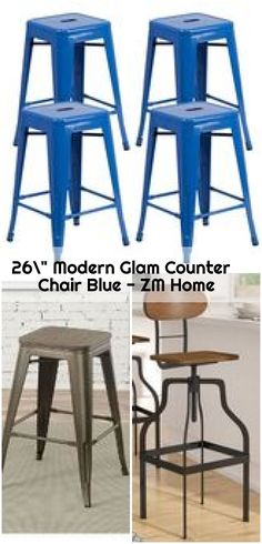 Modern Glam Counter Chair Blue – ZM Home - counter bar stools Counter Chair, Counter Bar Stools, Sleeve, Modern, Blue, Furniture, Home Decor, Manga, Trendy Tree