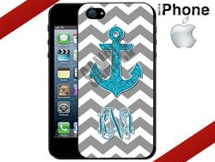 iPhone 4 Case  Grey Chevron Glittery Blue Anchor by CrazianDesigns, $15.99
