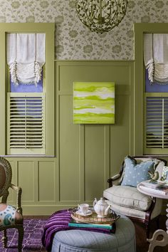 BOARD AND BATTEN PAINTED A COLOR WITH WALL PAPER