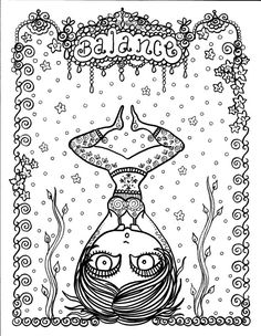 Yoga Coloring Book Page colouring adult detailed advanced printable Zentangle anti-stress, Färbung für Erwachsene, coloriage pour adultes, colorare per adulti, para colorear para adultos, раскраски для взрослых, omalovánky pro dospělé, colorir para adultos, färgsätta för vuxna, farve for voksne, väritys aikuiset Line Art Black and White https://www.etsy.com/shop/ChubbyMermaid