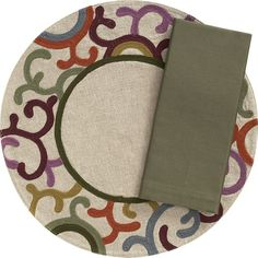 Medallion Placemat and Cotton Thyme Napkin in Placemats Holiday Tables, Thanksgiving Table, Umbrella Tree, Cloth Napkins, Placemat, Crate And Barrel, Crates, Dinnerware, Entertaining
