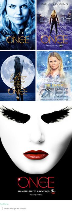 Emma Swan through the seasons. Once Upon A Time (is that fourth one official or fan made tho?)