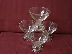 Vintage Anchor Hocking Glass Boppie-Clear set 4 Champagne/Tall Sherbet Glass
