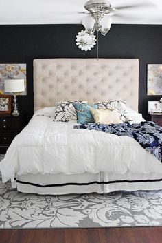 Navy and White Bedroom Elegant Navy & White Master Bedroom Refresh Master Bedroom Interior, Modern Bedroom Decor, Contemporary Bedroom, White Bedroom, Bedroom Ideas, Bedroom Designs, Modern Decor, Farmhouse Bedroom Furniture, Farmhouse Style Bedrooms