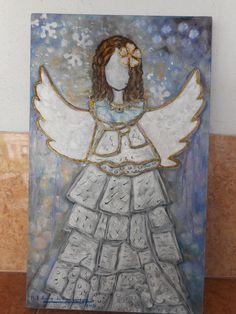 """""""ANGELITA INFANTIL"""", OLEO SOBRE MADERA, 50 X 30 CM., PINTADO POR MA. EUGENIA LARA LOPEZ."""