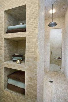 Walk-in shower with storage