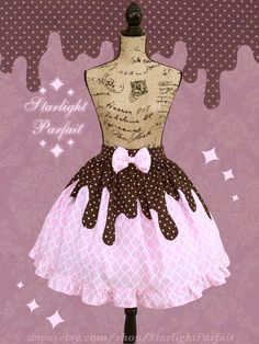 Dripping Chocolate Pink Cupcake Skirt | Kawaii | OTT Sweet Lolita | Fairy Kei…