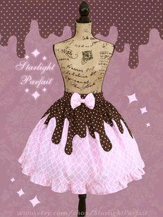 Dripping Chocolate Pink Cupcake Skirt | Kawaii | OTT Sweet Lolita | Fairy Kei…