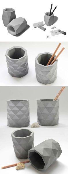 Arts Concrete Pen Pencil Holder Vase Office Desk Stationery Organizer