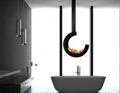 Biokominek ERTA 3/4 SYMMETRIC BLACK TUBE  800x800 mm Teak, Bathroom Lighting, Bathtub, Mirror, Furniture, Design, Home Decor, Ethanol Fuel, Bathroom Light Fittings