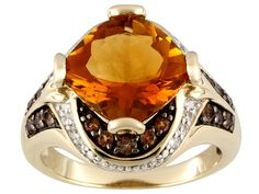Stratify (Tm) 4.00ct Madeira Citrine,.44ctw Andalusite,.18ctw White Zircon 18k Gold Over Silver Ring