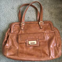 "brown/tan leather tote, 14.5""x11.5""x6.25"" Very roomy: fit my bulky laptop, lunch, and gym clothes. Full disclosure, the decorative buckle had to be fixed, but it's stayed on for 3 years. Liz Claiborne Bags Totes"