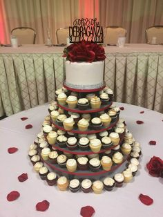 #wedding #cupcake #tower #flowers #cake #topper #roses