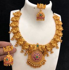 RA Matt jewels for Rs 2999 with shipping Direct message to place order Shipping is extra the damage will… 1 Gram Gold Jewellery, Temple Jewellery, Gold Jewelry, Gold Necklace, Jewelry Art, Indian Wedding Jewelry, Indian Jewelry, Bridal Jewelry, Gold Bangles Design