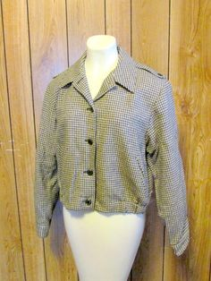 On Sale-PENDLETON Vintage HOUNDSTOOTH Jacket by BeauMondeVintage