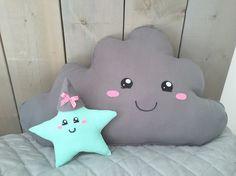 Big grey cloud and mint green star #kawaii #plushies #nursery #kinderkamer #wolk #ster #mintgreen #mintgroen #wonen