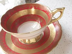 Antique red and gold tea cup and saucer set by ShoponSherman, $149.00