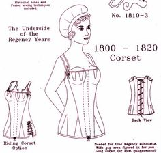 This Regency corset pattern was created by me, Deb Salisbury, owner of The Mantua-Maker Historical Sewing Patterns. I designed the busk, but another company makes it. The simple chemise-like garment of the early 19th century was worn over a chemise and petticoat -- and a corset, if she was over 17 years or a size A bust. The fashionable silhouette cannot be achieved if the bounce remains when the dancing stops. The long corset went out of fashion for a while, but came back with a vengeance…