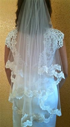 Two tier veil Alencon lace - white or light ivory with beaded scalloped lace edge, fingertip length on Etsy, $98.00
