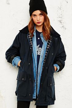 Vintage Renewal Oversized Wax Jacket in Navy - Urban Outfitters