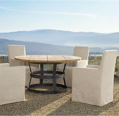 RH's Belgian Slipcovered Outdoor Side Chair:Our European-inspired indoor seating takes to the outdoors, retaining the same tailoring and sophisticated design. Weather- and stain-resistant fabric pairs with quick-dry foam cushions.