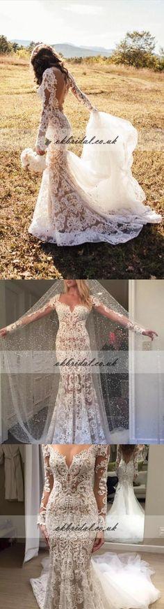 Long Sleeve Wedding Dress, Lace Wedding Dress, Tulle Wedding Dress, Elegant Mermaid Wedding Dress #okbridal