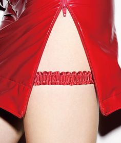 Red pencil skirt with nylon side zipper and matching garter. Cheongsam, Hanfu, Cheryl Blossom Aesthetic, I Fall To Pieces, Riverdale Cheryl, Textiles, Red Aesthetic, Sexy Hot Girls, Ao Dai