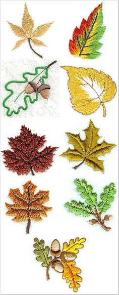 """Looks like """"Designs by Sick"""" is starting to run the stitching """"grain"""" direction in multiple ways, to best mimic the real thing in embroidery. Embroidery Leaf, Learn Embroidery, Hand Embroidery Stitches, Embroidery Needles, Hand Embroidery Designs, Embroidery Techniques, Cross Stitch Embroidery, Embroidery Jewelry, Embroidery Letters"""