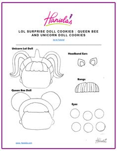 Today we are going to decorate with royal icing 4 cute LOL Surprise Doll Cookies : Unicorn, Diva and ultra rare Mermaid and Queen Bee. Felt Crafts Patterns, Doll Patterns, 21st Birthday Checklist, Lol Doll Cake, Girly Cakes, Unicorn Doll, Cookie Tutorials, Art Lessons For Kids, Doll Party