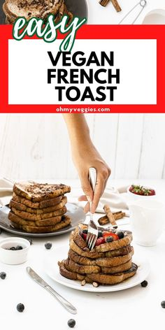 Looking for the best vegan French toast? This recipe right here is incredible! Whip up yourself some soft, custardy, perfectly cooked toast dusted with powdered sugar and drizzled with syrup. #frenchtoast #vegan #breakfast #brunch Vegan Baking Recipes, Gluten Free Recipes, Cookie Recipes, Vegan French Toast, Make French Toast, Vegan Cookbook, Slice Of Bread, Vegan Butter, Vegan Breakfast