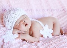 Knit Crochet Baby Girl Beanie Christmas Winter by OopsIKnitItAgain, $24.00