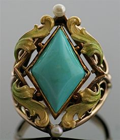 Antique Art Nuevo 14 Karat Turquoise and Enamel Gold Ring by SITFineJewelry on Etsy https://www.etsy.com/listing/108201918/antique-art-nuevo-14-karat-turquoise-and