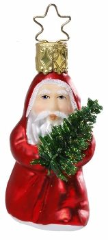 """Mini-Me (Santa). Inge Glas 2-3/4"""" glass ornament. With Legend card. Hand-blown, hand-painted. From Inge Glas studios in Neustadt, Germany. Saint Nicholas carrying tree.  Available at www.mygrowingtraditions.com    Santa brings unselfishness and goodwill."""