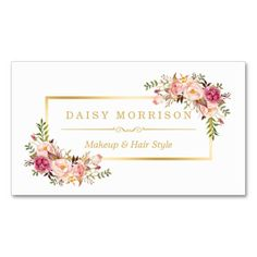 Shop Chic Floral Gold Frame Makeup Artist Beauty Salon Business Card created by CardHunter. Cadre Photo Booth, Makeup Artist Logo, Salon Business Cards, Custom Cards, Name Cards, Tool Design, Business Card Design, Salons, Card Making
