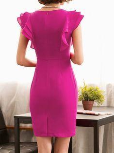 Rose sheath date work frill sleeve ruffled solid midi dress vestidos plisad Elegant Midi Dresses, Cute Dresses, Beautiful Dresses, Casual Dresses, Short Sleeve Dresses, Stylewe Dresses, African Fashion Dresses, Fashion Outfits, Dress Skirt