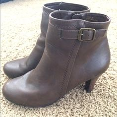 G.H. Bass and Company Brown Booties Beautiful boots!! Small heel about 2 1/2 inches or so. Small amounts of normal wear but very slight and not noticeable. Great shoe and very comfortable!! Shoes Heeled Boots