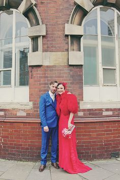 A Show-Stopping Red Lace Dress Designed And Made By A Stylish London Bride For Her Quirky, Colourful and Vintage Inspired Wedding