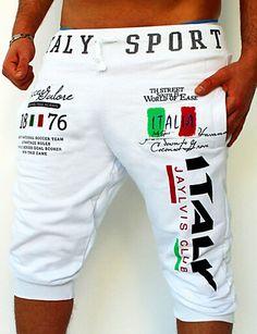 Hombre Activo   Básico Algodón Holgado   Pantalones de Deporte Pantalones -  Letra Estampado Negro   Deportes   Fin de semana 3295734729c