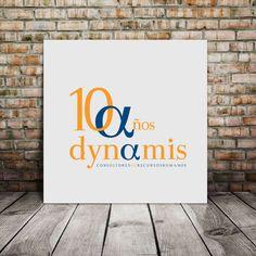 Sello 10 años Dinamis www.dynamis.es www.monoermo.com #logo #design