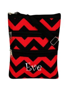 Red and Black Chevron Crossbody Bag
