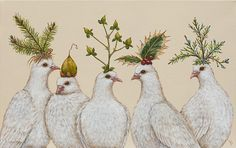Vicki Sawyer - Festive Doves - Available Originals Mosaic Wall Art, Surrealism Painting, All Nature, Pet Costumes, Mundo Animal, Whimsical Art, Cute Illustration, Bird Art, Folk Art