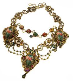 Michal Negrin Cameo Necklace w Roses Made with Crystals Drops