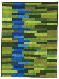 River Run quilt pattern by Esch House Quilts as seen at Robert Kaufman Fabrics River Run Designer Pattern: Robert Kaufman Fabric Company. Make from recycled denim, navy trousers, olive scout pants, and khakis. Quilt - Simple design and striking colors mak Bed Quilt Patterns, Modern Quilt Patterns, Jellyroll Quilts, Scrappy Quilts, Bed Quilts, Patchwork Quilting, Quilting Projects, Quilting Designs, Quilt Modernen