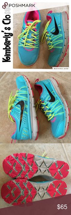 ✨NIKE✨ Women's Flex Trail 2 Shoes Turquoise blue with bright pink and yellow accent colors.  For the trail runner who wants the perfect blend of lightweight cushioning with the durability and traction of a trail shoe. Trail-ready upper with gusseted tongue and gilly lacing system for a customizable fit. Reinforced toe and heel for durability. Flexible outsole design with angled edges and spaces between each lug to allow for quick and easy mud shedding and optimal grip in all conditions…