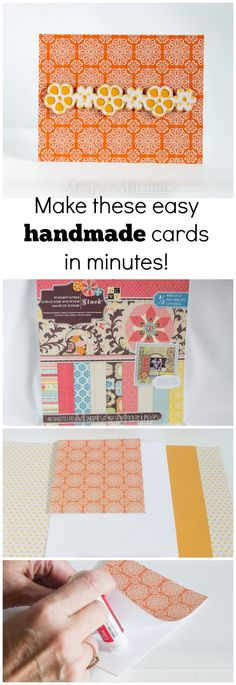 Many easy handmade card ideas by using packaged paper, a diecutting machine and art or scrapbook supplies. Lovely cards to give without spending much time!