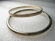 "Vintage Gold Tone Cut Monet Bangle Bracelet , and a Rounded Bangle Bracelet 7.5"" #Monetonone #bangle"