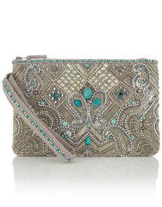 Essoueria Beaded Zip Top Clutch Bag | Silver | Accessorize