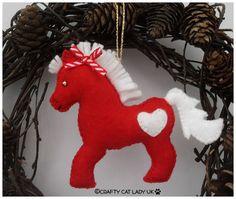 Felt Pony Christmas Tree Ornament. Hand Made by CraftyCatLadyUK
