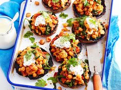 This chickpea and cauliflower-stuffed mushrooms recipe creates a delicious…