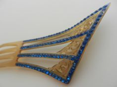Celluloid French hair comb with blue paste stones and blue handpainting